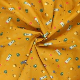 Tissu coton popeline Poppy Stripe and space - jaune moutarde x 10cm