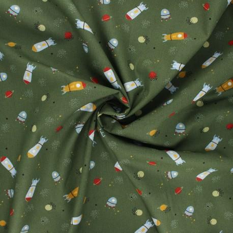 Tissu coton popeline Poppy Stripe and space - kaki x 10cm