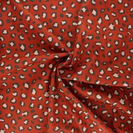Poppy poplin cotton fabric - brick red Animal skin x 10cm