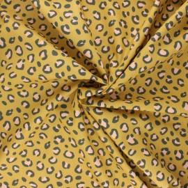 Poppy poplin cotton fabric - mustard yellow Animal skin x 10cm