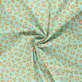 Poppy poplin cotton fabric - celadon Animal skin x 10cm