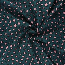 Poppy poplin cotton fabric - peacock green Animal skin x 10cm