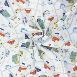 Tissu coton popeline Poppy Traffic cars - blanc x 10cm