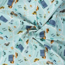 Tissu coton popeline Poppy Traffic cars - vert sauge x 10cm