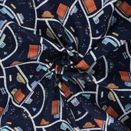 Tissu coton popeline Poppy Traffic cars - bleu nuit x 10cm