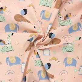 Poppy poplin cotton fabric - light pink Sweet animals and balloons x 10cm