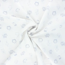 Poppy poplin cotton fabric - white/grey Sweet animals B x 10cm