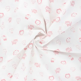 Poppy poplin cotton fabric - white/pink Sweet animals B x 10cm