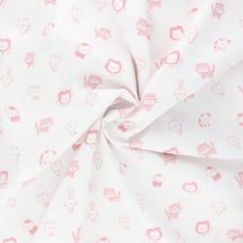 Tissu coton popeline Poppy Sweet animals B - blanc/rose x 10cm