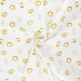 Poppy poplin cotton fabric - white/yellow Sweet animals B x 10cm