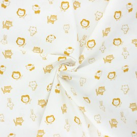 Tissu coton popeline Poppy Sweet animals B - blanc/jaune x 10cm