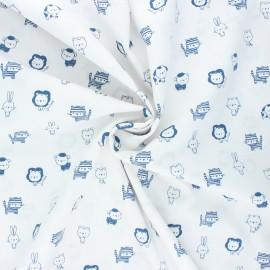 Poppy poplin cotton fabric - white/blue Sweet animals B x 10cm
