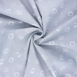 Poppy poplin cotton fabric - light grey Sweet animals B x 10cm
