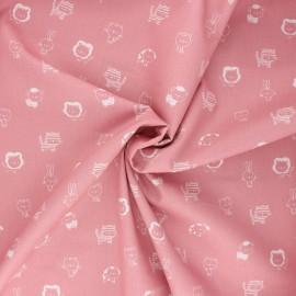 Poppy poplin cotton fabric - rosewood Sweet animals B x 10cm