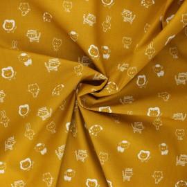 Poppy poplin cotton fabric - mustard yellow Sweet animals B x 10cm