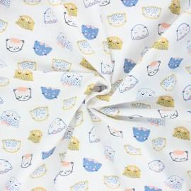 Tissu coton popeline Poppy Chic cats - blanc x 10cm