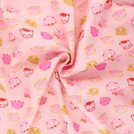 Tissu coton popeline Poppy Chic cats - rose clair x 10cm