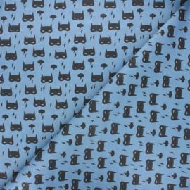 Tissu coton cretonne Storm masks - bleu x 10cm