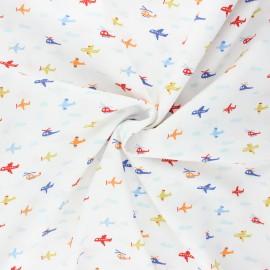 Tissu coton popeline Poppy Fly with me! - blanc x 10cm