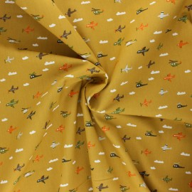 Poppy poplin cotton fabric - curry yellow Fly with me! x 10cm