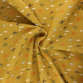 Tissu coton popeline Poppy Fly with me! - jaune curry x 10cm