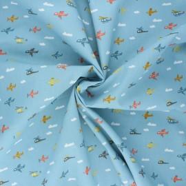 Tissu coton popeline Poppy Fly with me! - bleu clair x 10cm