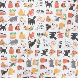 Tissu coton cretonne Cats' lifestyle - blanc x 10cm