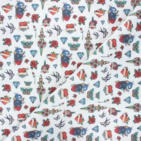 Tissu coton cretonne Tatoo - blanc x 10cm