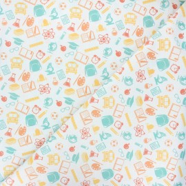 Cretonne cotton fabric - white School lovers x 10 cm