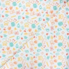 Tissu coton cretonne School lovers - blanc x 10cm