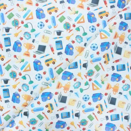 Tissu coton cretonne École - blanc x 10cm