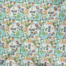 Tissu coton cretonne Végan - blanc x 10cm