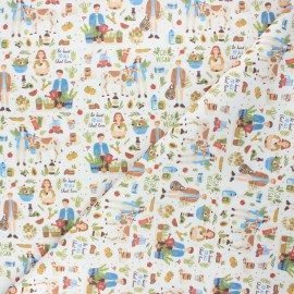 Cretonne cotton fabric - raw Veggie love x 10 cm