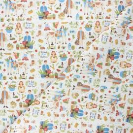Tissu coton cretonne Veggie love - écru x 10cm