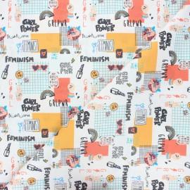 Tissu coton cretonne GRL PWR - blanc x 10cm