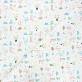 Tissu coton cretonne Texas - blanc x 10cm