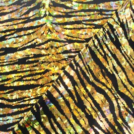 Lycra Holo Croco fabric - golden x 10cm