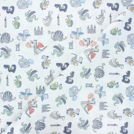 Tissu coton cretonne Dragon & château - blanc x 10cm