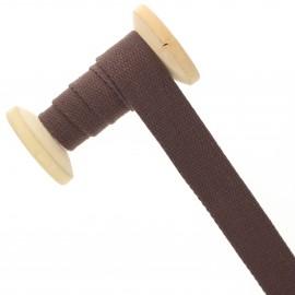 23 mm plain cotton Strap roll - chocolate