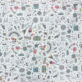 Tissu coton cretonne Rock lover - blanc x 10cm