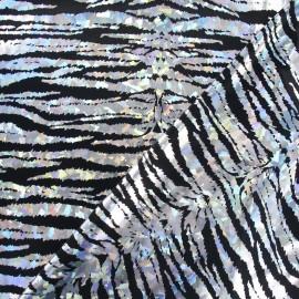 Tissu Lycra Holo Croco argenté x 10cm