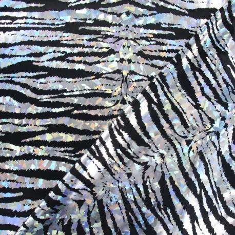 Lycra Holo Croco fabric - silver x 10cm