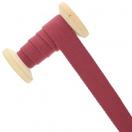 Sangle coton 23 mm - marsala - bobine de 15 m