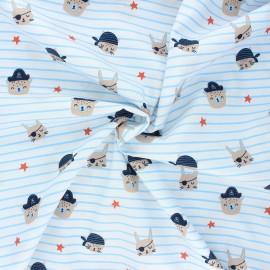 Tissu coton popeline Poppy Pirate animals gang - blanc x 10cm