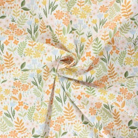 Tissu coton popeline Poppy Flowers C - blanc x 10cm