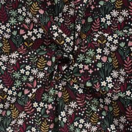 Tissu coton popeline Poppy Flowers C - noir x 10cm