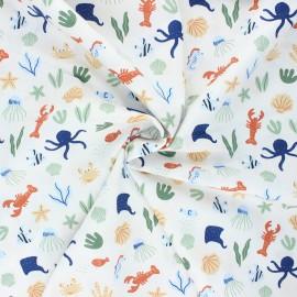 Poppy poplin cotton fabric - white Underwater world x 10cm