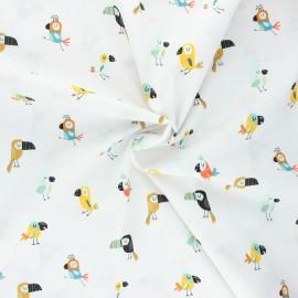 Poppy poplin cotton fabric - white Cool birds x 10cm