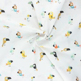 Tissu coton popeline Poppy Cool birds - blanc x 10cm