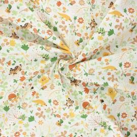 Poppy poplin cotton fabric - white Welcome to the jungle x 10cm